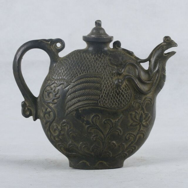 Chinese Bronze Handwork Carved Phoenix&Cover Teapot  QT036