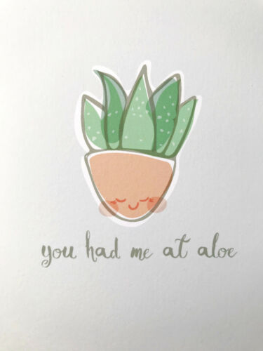 Cute Funny You Had Me at Aloe Succulent Plant Pun Love Anniversary Greeting Card