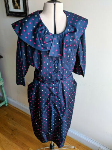 Vintage 1950s Pink & Blue Party Dress Shirtwaist B