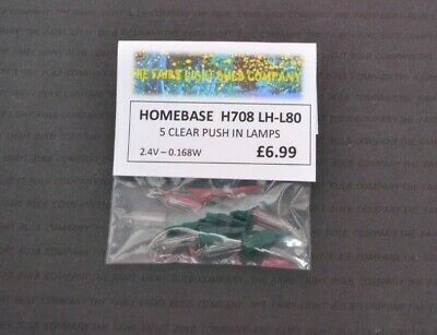 0226 HOMEBASE H708 CLEAR PUSH-IN 2.4VOLT 0.168WATT SPARE LAMPS 5 PACK