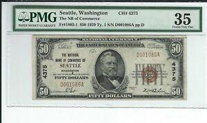 "1929 $50 NBN CHARTER #4375  ""THE NATIONAL BANK OF COMMERCE SEATTLE WASHINGTON"""