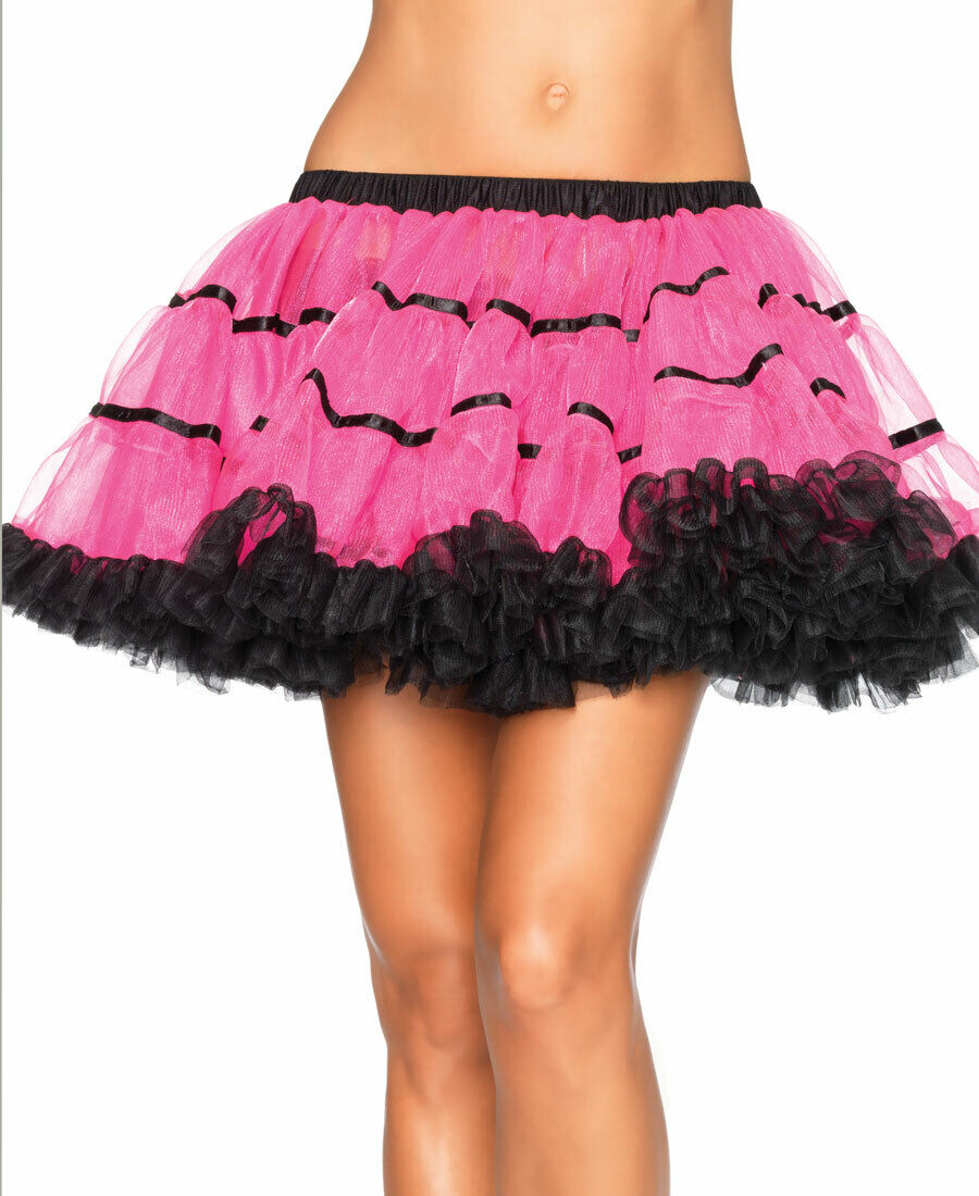 New Leg Avenue A1711PB Neon Pink And Black Layered Satin Striped Tulle Petticoat