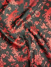 Brocade Chinese floral blossom oriental asian  Black / Wine Fabric