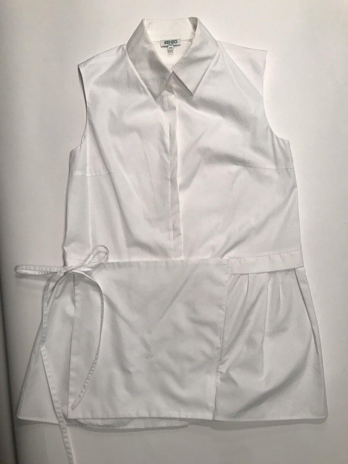 Kenzo Poplin Apron Tie Shirt, Size 36