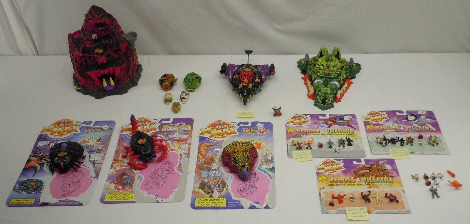 Mattel Mighty Max Skull Mtn Dragon Island Terror Talon Horror cabezas Jugarset Lote