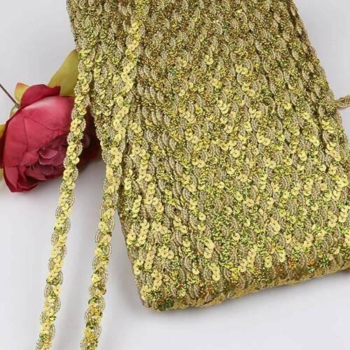 5 Yards Glitter Sequins Ribbon Costume Wedding Dress Trim Clothing Fabric Crafts