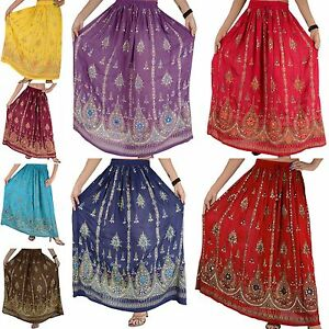 WOMEN-039-s-SKIRT-INDIAN-GYPSY-BOHO-PEASANT-BOLLYWOOD-DANCE-SEQUINS-MAXI-Skirt-1size