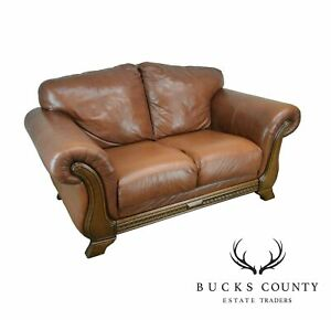 Amazing Details About Divani Chateau D Ax Italian Brown Leather Loveseat Caraccident5 Cool Chair Designs And Ideas Caraccident5Info