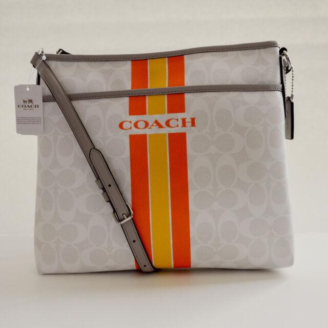 8a601357ca45 Coach Varsity Stripe PVC File Bag Messenger Crossbody Chalk F38402 ...