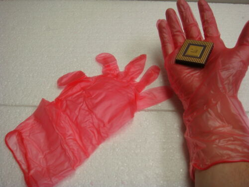 5-PAIR 96-233 Cleanroom Antistatic Vinyl Disposable Gloves MEDIUM OAK
