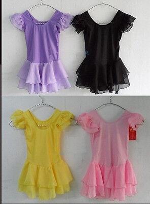 Girls Kids Child Baby Dancewear Gymnastic Dance Leotard Tutu Skirt 4 Colors 5-8Y