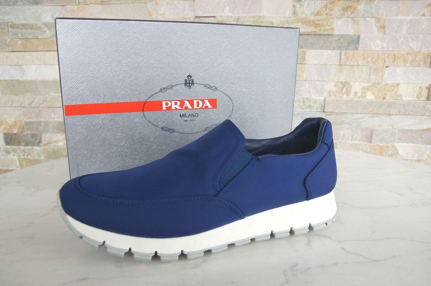 Luxus PRADA Gr 40 Slipper Turnschuhe Slip On Schuhe 3S5947 blau NEU ehem
