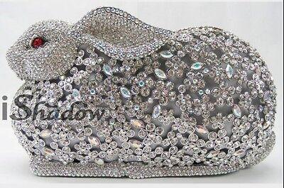 RABBIT WhiteAB Crystal Bunny Evening purse clutch bag handbag case FREE SHIPPING
