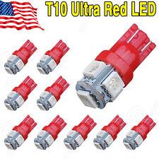 10 PCS Super Red T10 Wedge 5-SMD 5050 LED Light bulbs W5W 2825 158 192 168 194