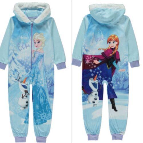 Disney Frozen Girls All in One Fleece Lounge wear Sleepsuit Pyjamas  2-14