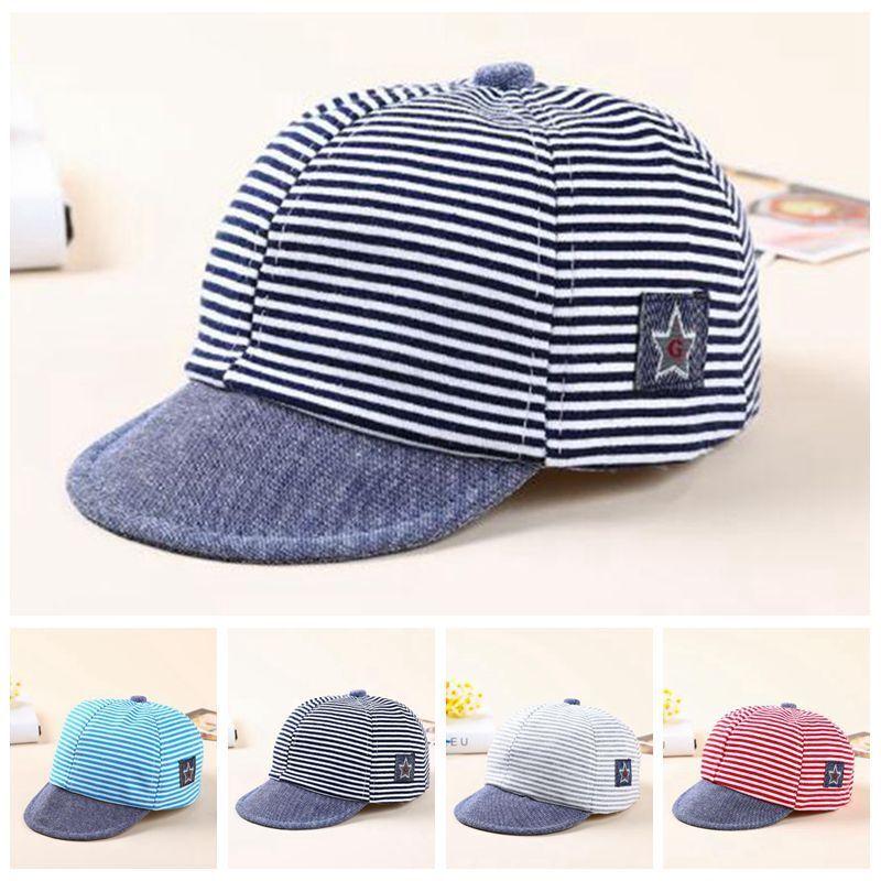 Baby Boy Autumn Hats Striped Soft Cotton Eaves Baseball Cap