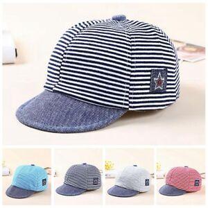 Baby Boy Hats Striped Soft Cotton Sunhat Eaves Baseball Cap Sun Hat ... a72969344be