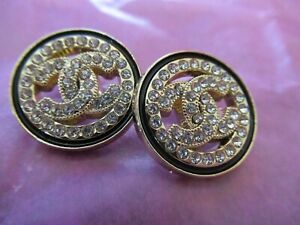Chanel-2-cc-SILVER-buttons-20mm-lot-of-2-good-condition-RHINESTONES