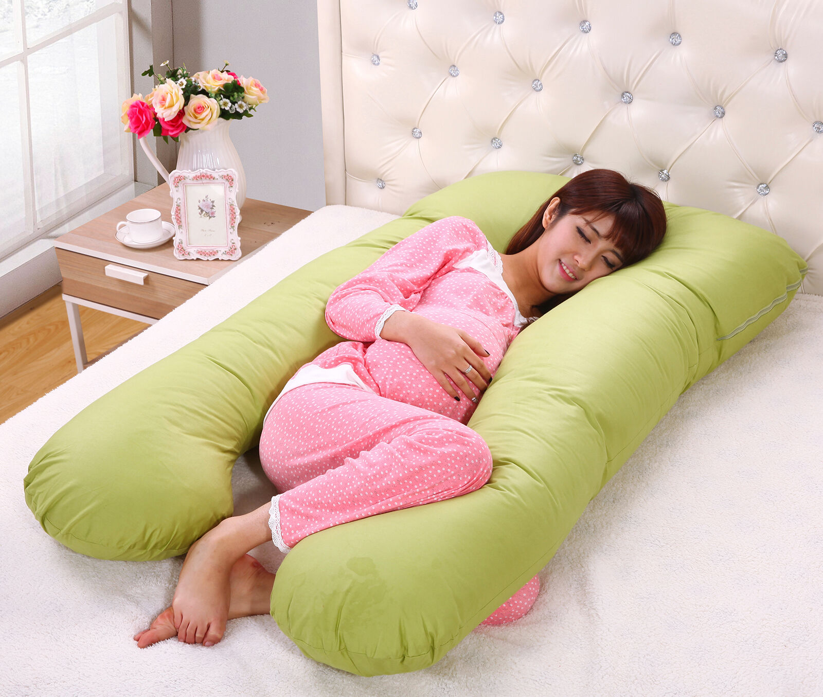 Large U Shape Contoured Body Pregnancy Nursing Maternity Pillow Cozy Comfort