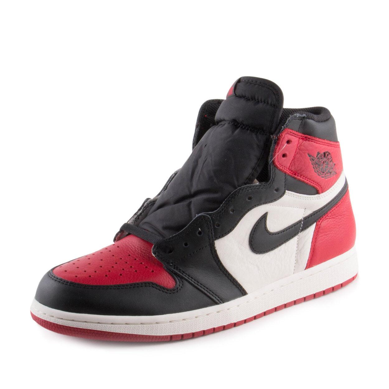 Nike Para Hombre Jordan 1 Bred Retro Alta Original Air Bred 1 Toe Rojo/NegroBlanco 555088610 2bb805