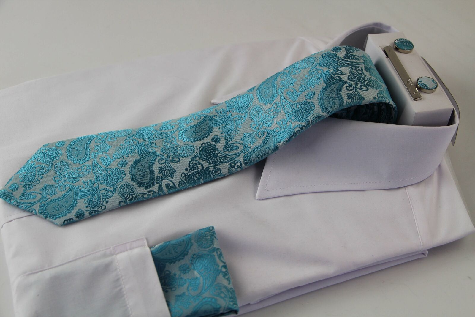 Mens Turquoise & Silver Boho Paisley Matching Neck Tie, Pocket Square, Cuff