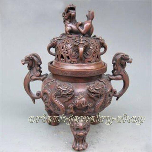Old Bronze Dragon Foo Dog Incense Burner Lid w Ming Dynasty XuanDe Mark