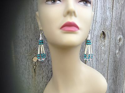 Turquoise White quill loop Hippie Boho Native style delica 3 1/2 beaded earrings
