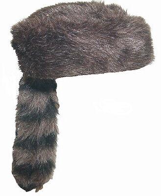 Adult Size Davy Crocket Coon Skin Coonskin Fake Fur Racoon Tail Hat MEDIUM