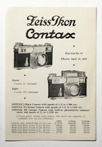 Vintage-Zeiss-Ikon-Contax-Original-Price-List-1937