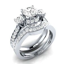 Luxury 925 Silver White Sapphire Wedding Engagement Rings Set Women Jewelry Gift