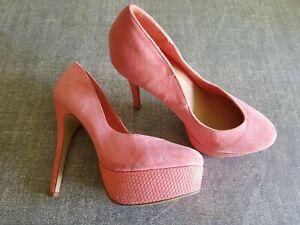 coral pink faux suede platform stiletto