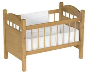 18 Toy Baby Doll Crib Bed Handmade Bedding Oak Wood Furniture