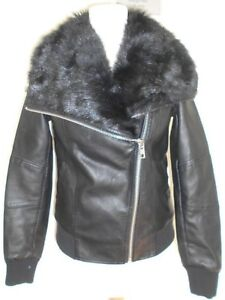 43bfdc96b Details about NEW LOOK ladies jacket size 6 - black faux leather fur collar  chunky zip biker