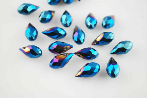 6x12mm 20Pcs Faceted Glass Teardrop Pendant Finding Jewelry Making Loose Beads#Q