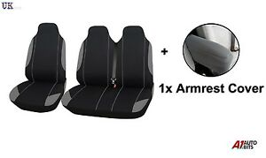 2+1 RED BLACK FABRIC SEAT /& ARMREST COVERS FOR RENAULT TRAFIC NEW