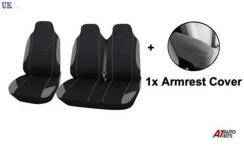 2+1 Gris Negro Suave Comodidad asiento de tela /& Apoyabrazos Cubiertas Para Ford Transit Custom