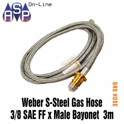 GAS BAYONET HOSE TO SUIT WEBBER Q & BABY Q 3METER BRAIDED 38 SAE CARAVAN BBQ