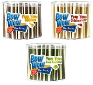 YUM-YUMS-40g-x3-x35-Bow-Wow-Dog-Treat-Food-bp-Chicken-Liver-Mint-Snack