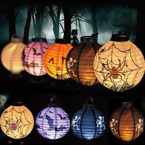 LED Paper Pumpkin Bat Spider Hanging Lantern Light Lamp - Led Halloween Decorations