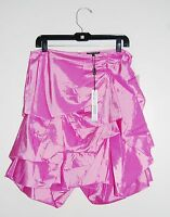 Samuel Dong Women's Candy Pink Perforated Flouncy Bubble Skirt 19684 Size Large