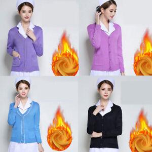 Womens Nurse Knitted Cardigan Sweater Warm Coat Doctor ...