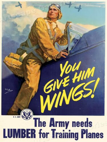 18x24 You Give Him Wings 1943 Army Air Force WW2 Training Planes War Poster