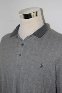 dd37e79e640f12 Men's Polo Golf Ralph Lauren Gray L/S Subtle Striped Polo Shirt Sz ...