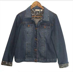 Chico-s-Platinum-Denim-Blue-Jean-Jacket-Animal-Print-Cuff-Size-1-US-Sz-8-Med