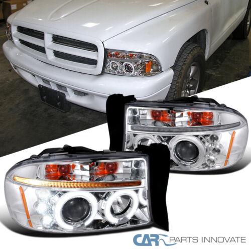 For Dodge 97-04 Dakota 98-03 Durango  LED Halo Projector Headlights Left+Right