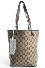 Gucci Beige Brown Monogrammed Canvas Tote Handbag