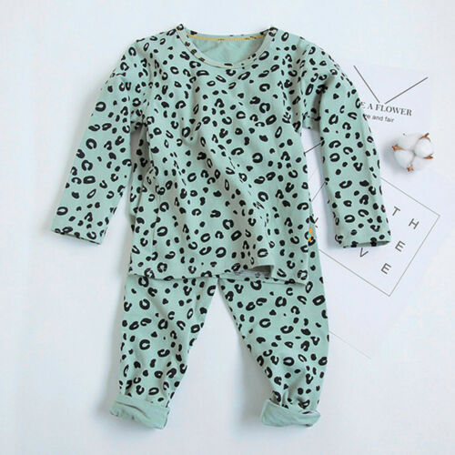 Toddler Kids Boys Girls Long Sleeve Tops Leopard Pants pajamas Sleepwear Outfits
