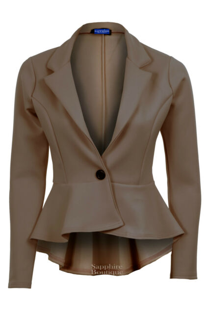 New Ladies High Low Peplum Frill Smart Work Office Fitted Women's Blazer Jacket