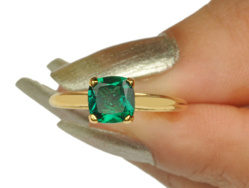 14KT Yellow Gold Cushion Shape 1.40Ct Natural Green Emerald Engagement Ring