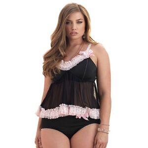 f68fbead78c LA-81399Q Sexy Plus Queen Size Black Babydoll Top Panty w  Heart ...